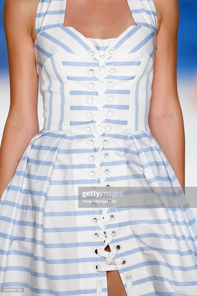 A model, fashion detail, walks the runway at the Lena Hoschek show during the Mercedes-Benz Fashion Week Berlin Spring/Summer 2017 at Erika Hess Eisstadion on June 30, 2016 in Berlin, Germany.