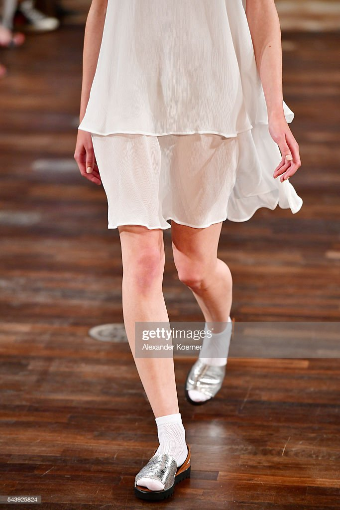 A model, fashion detail, walks the runway at the Marcel Ostertag show during the Mercedes-Benz Fashion Week Berlin Spring/Summer 2017 at Admiralspalast on June 30, 2016 in Berlin, Germany.