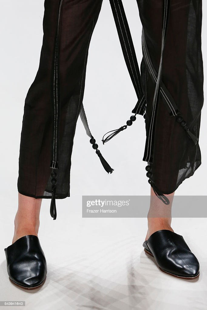 A model, fashion detail, walks the runway at the Mareike Massing show (DfT winner 2015), 'Designer for Tomorrow' by Peek & Cloppenburg and Fashion ID, during the Mercedes-Benz Fashion Week Berlin Spring/Summer 2017 at Erika Hess Eisstadion on June 30, 2016 in Berlin, Germany.