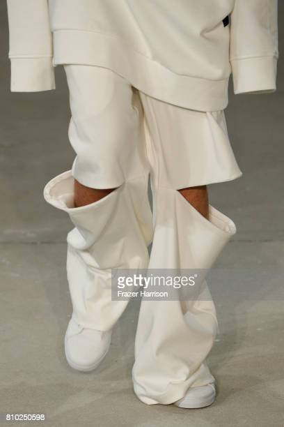 A model fashion detail walks the runway at the Odeur show during the MercedesBenz Fashion Week Berlin Spring/Summer 2018 at Kaufhaus Jandorf on July...