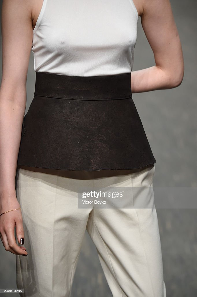 A model, fashion detail, walks the runway at the Philomena Zanetti show during the Mercedes-Benz Fashion Week Berlin Spring/Summer 2017 at Stage at me Collectors Room on June 29, 2016 in Berlin, Germany.