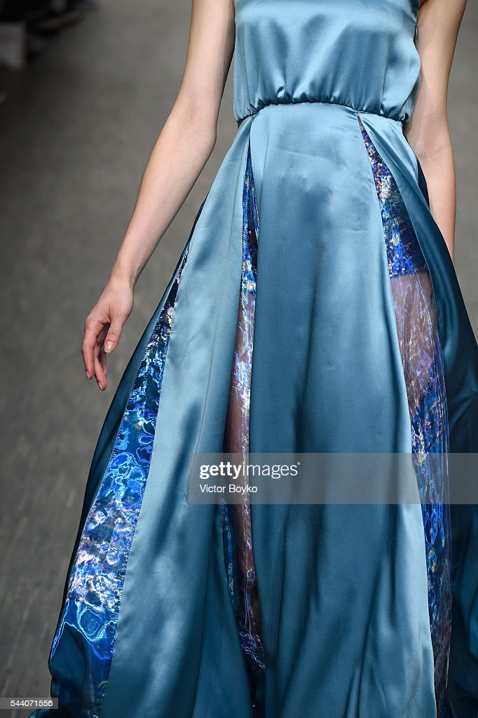 A model, fashion detail, walks the runway at the Sammler Berlin show during the Mercedes-Benz Fashion Week Berlin Spring/Summer 2017 at Stage at me Collectors Room on July 1, 2016 in Berlin, Germany.