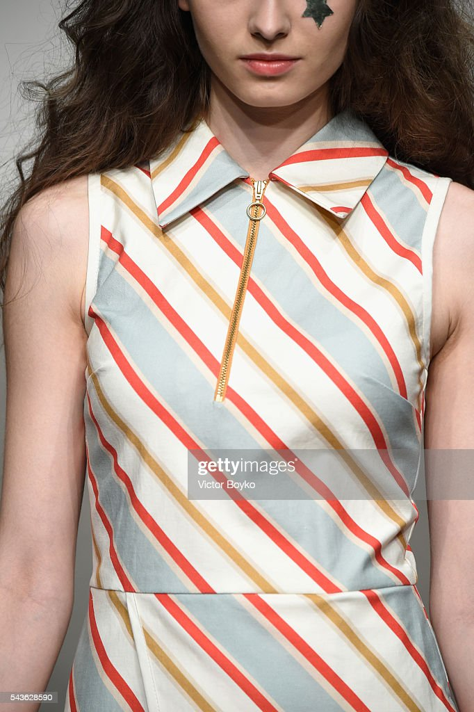 A model, fashion detail, walks the runway at the Tomcsanyi show during the Mercedes-Benz Fashion Week Berlin Spring/Summer 2017 at Stage at me Collectors Room on June 29, 2016 in Berlin, Germany.