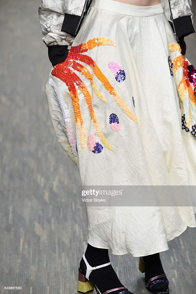A model, fashion detail, walks the runway at the Vanesa Krongold show during the Mercedes-Benz Fashion Week Berlin Spring/Summer 2017 at Stage at me Collectors Room on June 30, 2016 in Berlin, Germany.