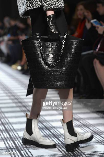 A model fashion detail walks the runway during the Balenciaga show as part of the Paris Fashion Week Womenswear Fall/Winter 2015/2016 on March 6 2015...