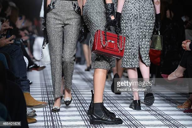 A model fashion detail walks the runway during the Balenciaga show as part of the Paris Fashion Week Womenswear Fall/Winter 2015/2016 on March 6 2015...