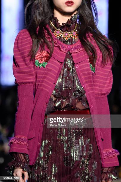 A model fashion detail walks the runway for the Anna Sui collection during New York Fashion Week The Shows at Gallery 1 Skylight Clarkson Sq on...