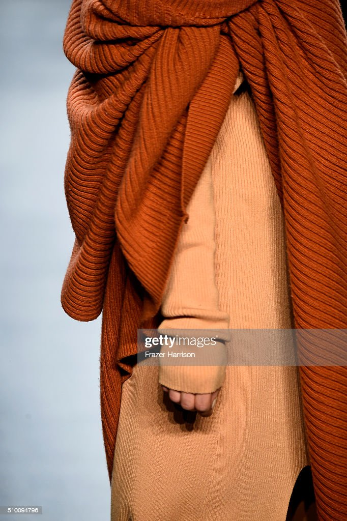 A model, fashion detail, walks the runway wearing Baja East Fall 2016 during New York Fashion Week: The Shows at The Dock, Skylight at Moynihan Station on February 13, 2016 in New York City.