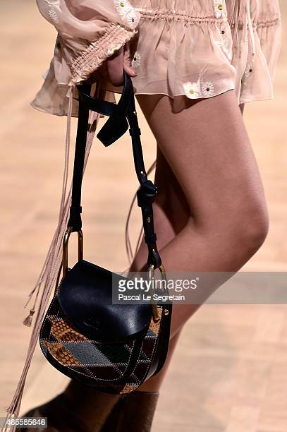 A model fashion details walks the runway during the Chloe show as part of the Paris Fashion Week Womenswear Fall/Winter 2015/2016 on March 8 2015 in...