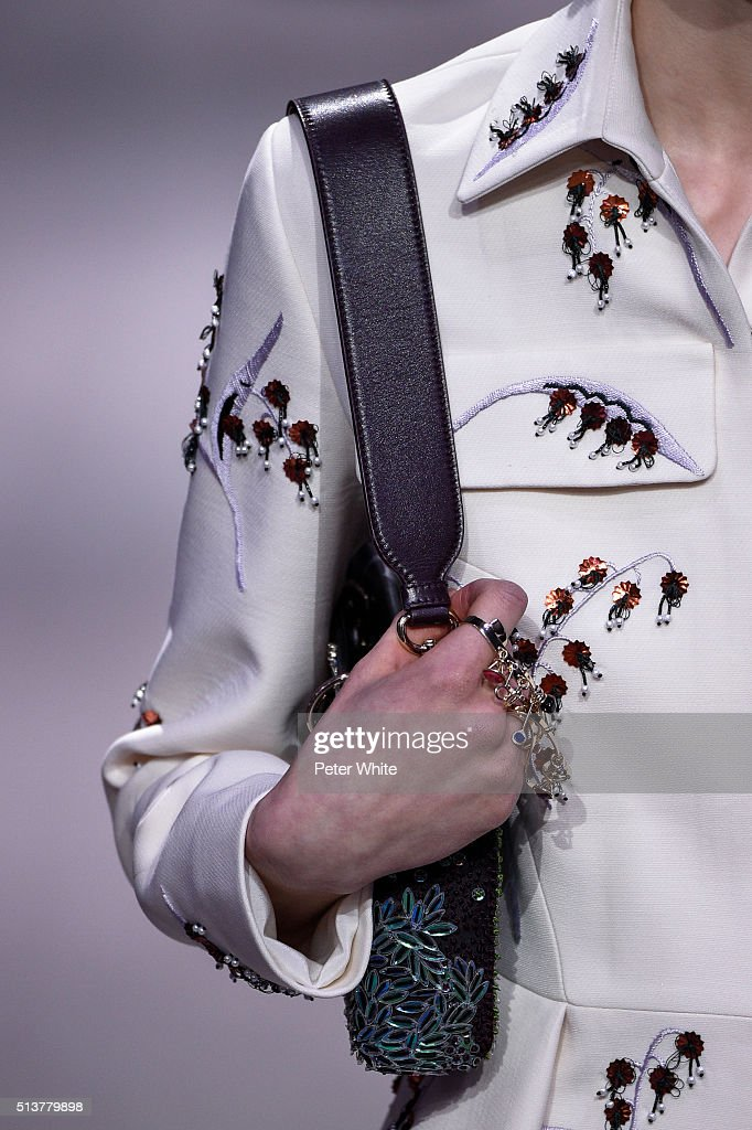A model fashion details walks the runway during the Christian Dior show as part of the Paris Fashion Week Womenswear Fall/Winter 2016/2017 on March 4...