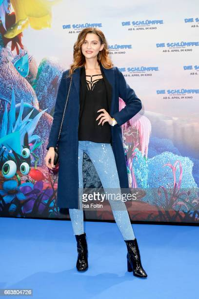 Model Fata Hasanovic during the 'Die Schluempfe Das verlorene Dorf' premiere at Sony Centre on April 2 2017 in Berlin Germany