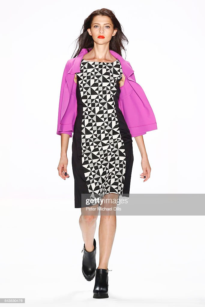 A model walks the runway at the Anja Gockel show during the Mercedes-Benz Fashion Week Berlin Spring/Summer 2017 at Erika Hess Eisstadion on June 29, 2016 in Berlin, Germany.