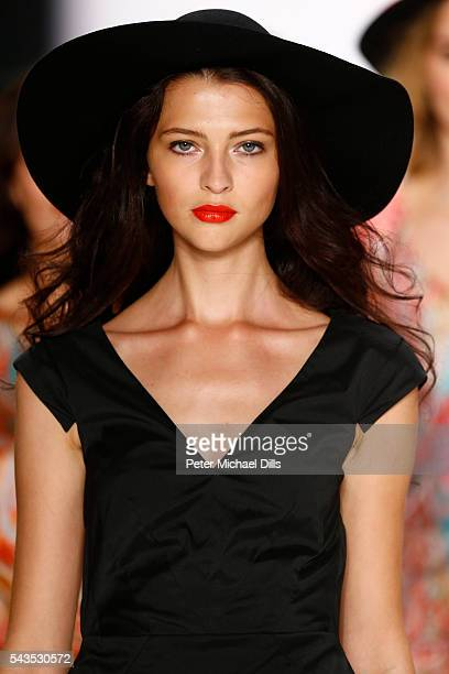 Model Fata Hasanovic walks the runway at the Anja Gockel show during the MercedesBenz Fashion Week Berlin Spring/Summer 2017 at Erika Hess Eisstadion...