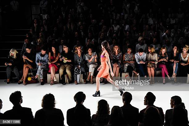 Model Fata Hasanovic walks the runway at the Anja Gockel show during the MercedesBenz Fashion Week Berlin Spring/Summer 2017 at Erika Hess Eisstadion...