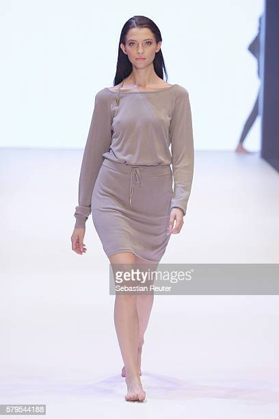 Model Fata Hasanovic walks the runway for Delicatelove as part of the Platform Fashion Selected show during Platform Fashion July 2016 at Areal...