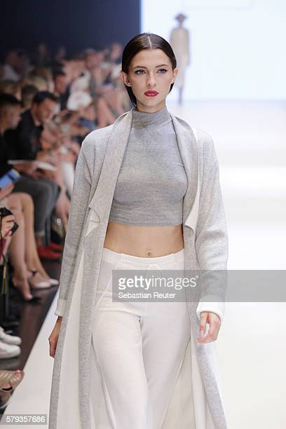 Model Fata Hasanovic walks the runway for Lena Man as part of the Fashion Net Presents Duesseldorf Designers show during Platform Fashion July 2016...