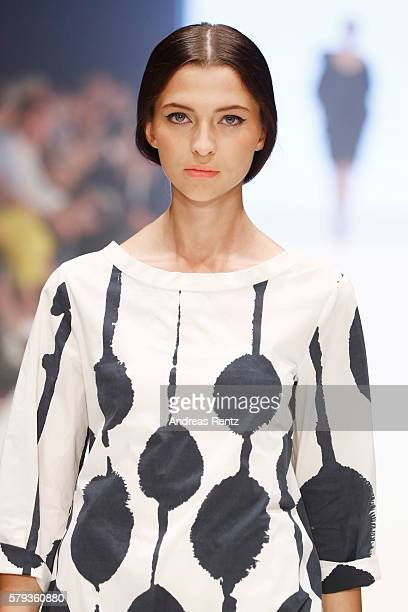Model Fata Hasanovicl walks the runway at the Annette Goertz show during Platform Fashion July 2016 at Areal Boehler on July 23 2016 in Duesseldorf...