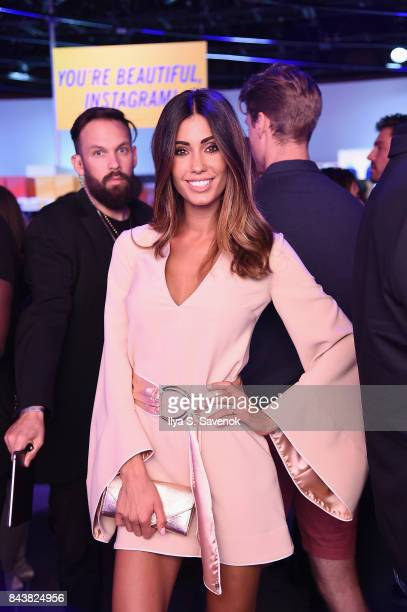 Model Federica Nargi poses in the grocery store inspired presentation space during the Esmara By Heidi Klum Lidl Fashion Presentation at New York...
