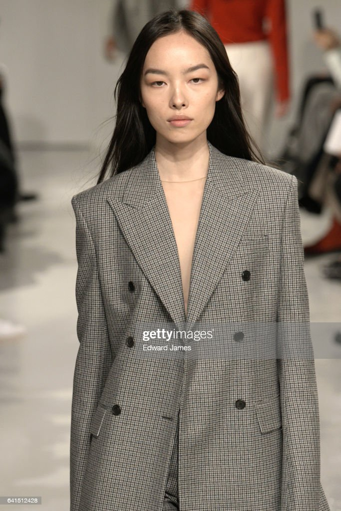 Model Fei Fei Sun walks the runway during the Calvin Klein Fall/Winter 2017/2018 collection fashion show on February 10, 2017 in New York City.