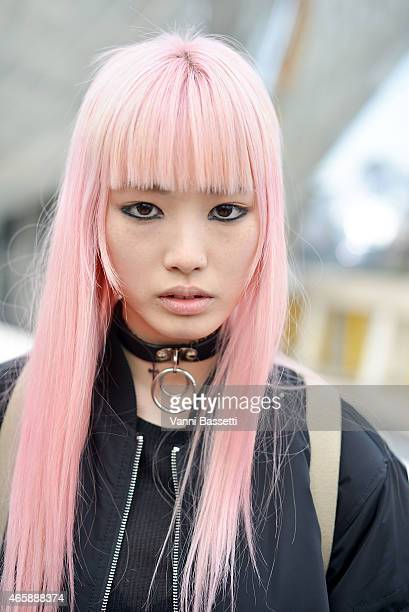 Model Fernanda Hin Lin Ly poses after the Louis Vuitton show on Day 9 of Paris Fashion Week Womenswear FW15 on March 11 2015 in Paris France