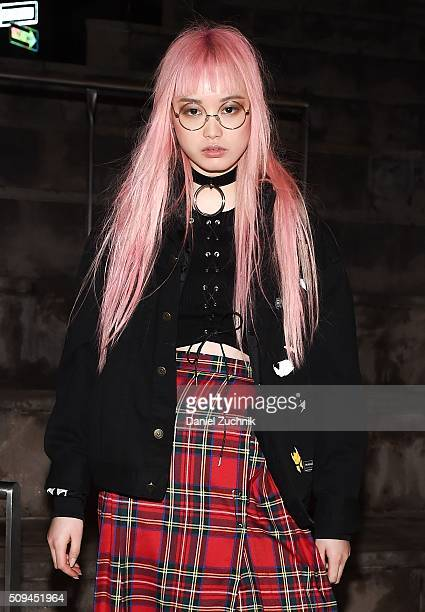 Model Fernanda Ly is seen on the streets of New York City wearing a vintage skirt and a Creepyyeha choker during New York Fashion Week Women's...