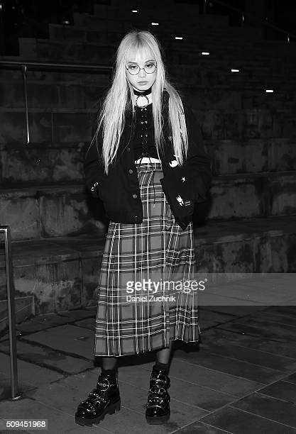 Model Fernanda Ly is seen on the streets of New York City wearing a vintage skirt Alexander Wang shoes and a Creepyyeha choker during New York...