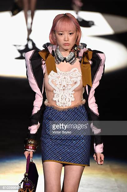 Model Fernanda Ly walks the runway at the Dsquared2 show during Milan Fashion Week Spring/Summer 2017 on September 25 2016 in Milan Italy