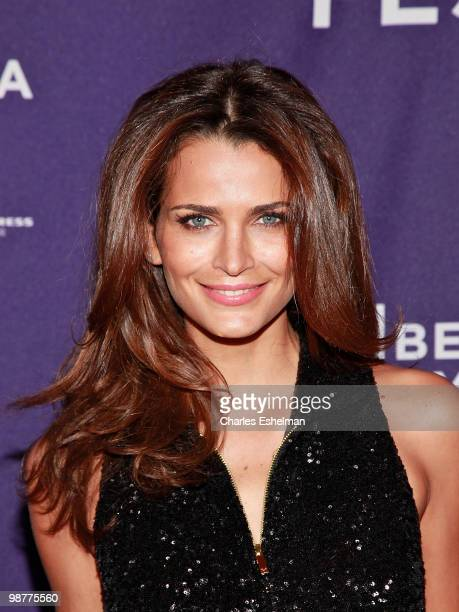 Model Fernanda Motta attends the 'Ultrasuede In Search of Halston' premiere during the 9th Annual Tribeca Film Festival at the SVA Theater on April...