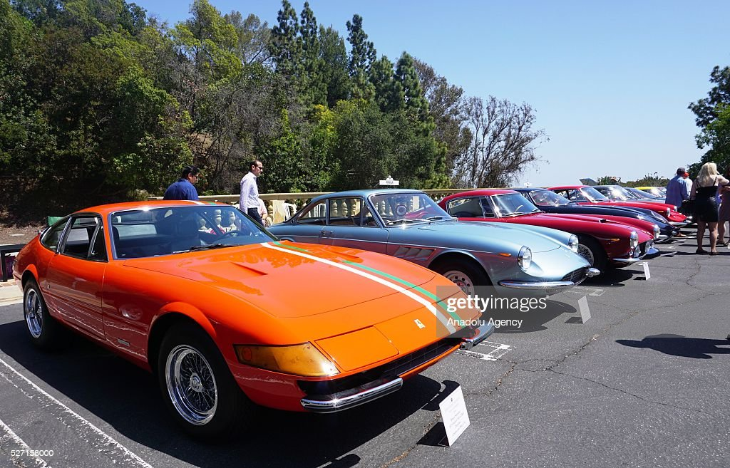 1973 model Ferrari 365 GTB-4 is on display during Concours d'Elegance at Greystone Mansion in Beverly Hills, Los Angeles, USA, on May 2, 2016. 140 classic automobiles from 18 different categories are displayed during the Concours d'Elegance classic automobile show.