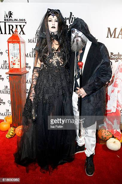 Model Fiona Erdmann and DJ Senay Gueler attend the Halloween party by Natascha Ochsenknecht at Berlin Dungeon on October 27 2016 in Berlin Germany