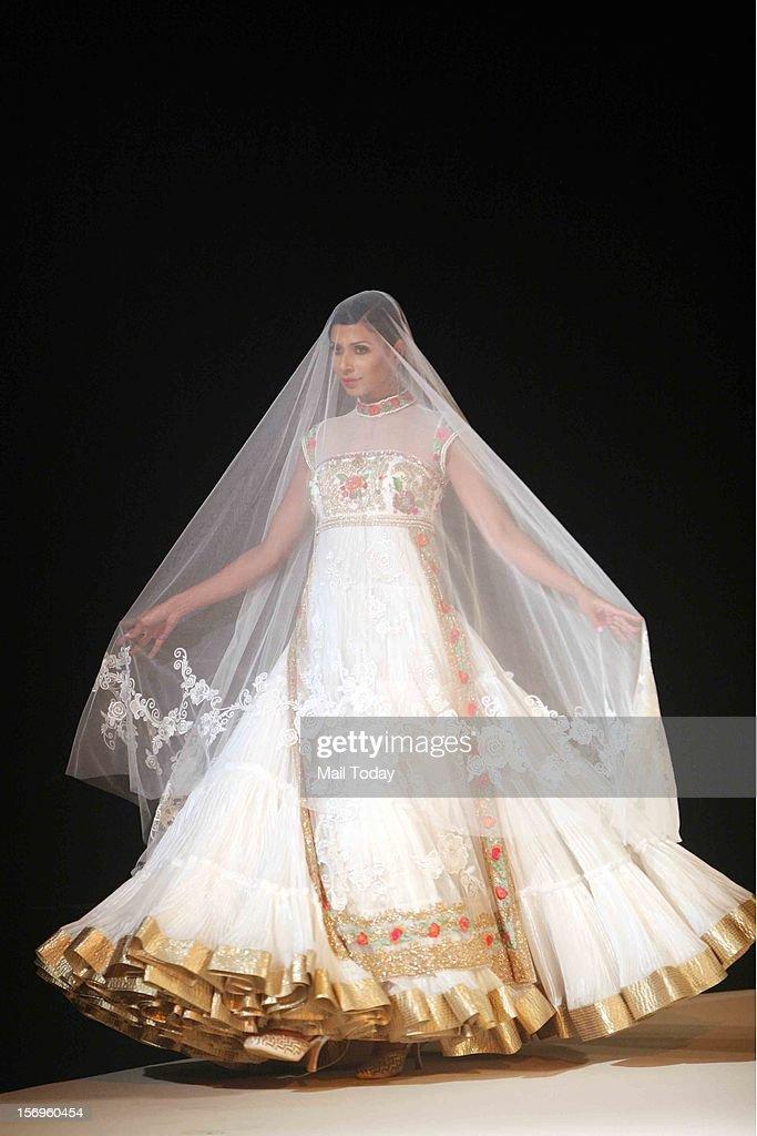 A model flaunts Suneet Varma's creation in New Delhi on Saturday.