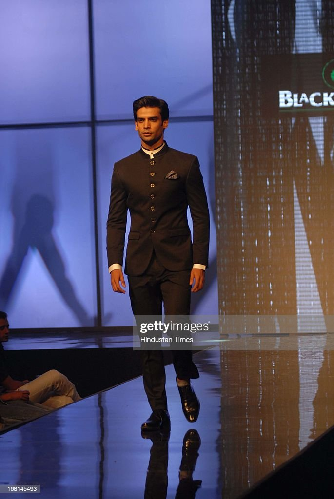 A Model flaunts the Spring Summer 2013 collection during the Blackberrys Sharp Night Fashion Show at Mehboob studio, Bandra on May 3, 2013 in Mumbai, India. The Blackberrys Sharp Night is a fashion show organised by Blackberrys to showcase their new Summer/Spring collection.
