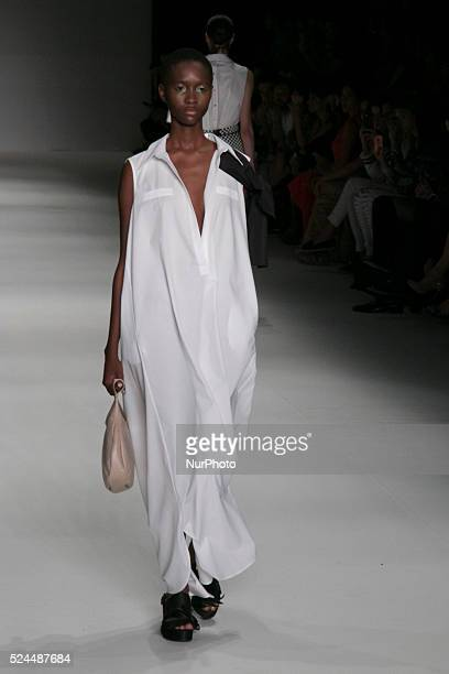 Model for designer fashion show Apartamento 03 the fourth day of Sao Paulo Fashion Week Summer 2016 in Cândido Portinari park in west region of São...