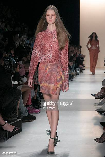 Model for designer fashion show Iódice the fourth day of Sao Paulo Fashion Week Summer 2016 in Cândido Portinari park in west region of São Paulo on...