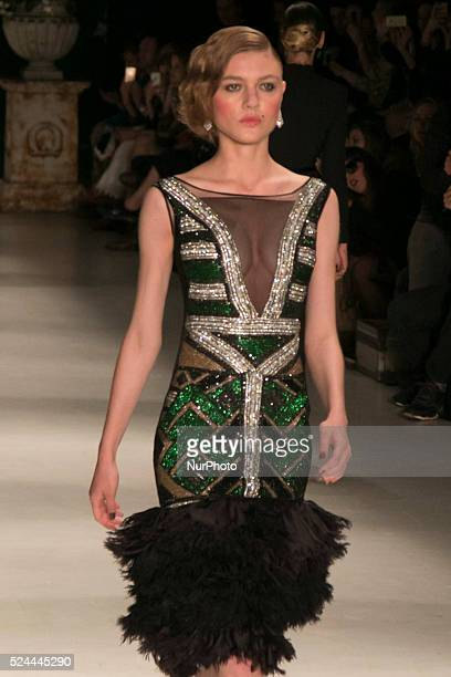 Model for designer fashion show Samuel Cirnansck the fourth day of Sao Paulo Fashion Week Summer 2016 in Cândido Portinari park in west region of São...