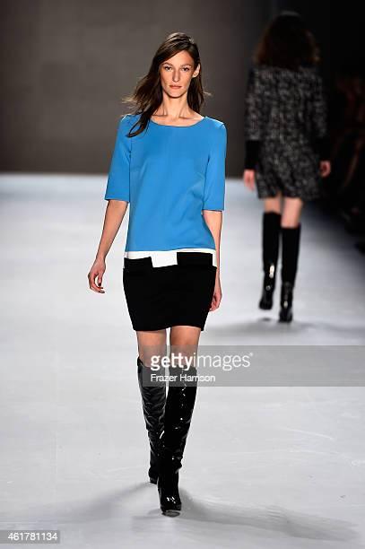 Model Franzi Mueller walks the runway at the Laurel show during the MercedesBenz Fashion Week Berlin Autumn/Winter 2015/16 at Brandenburg Gate on...