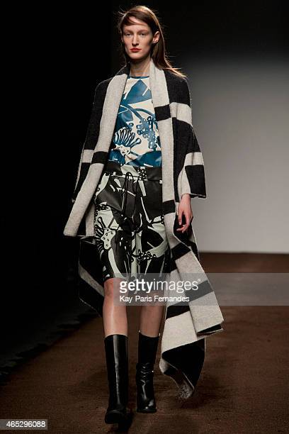 Model Franzi Mueller walks the runway during the Christian Wijnants show as part of the Paris Fashion Week Womenswear Fall/Winter 2015/2016 on March...