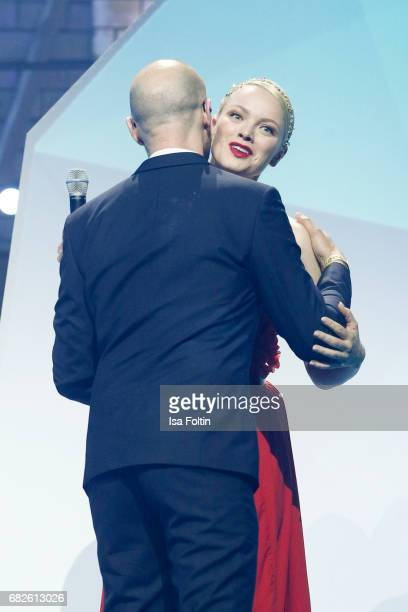 Model Franziska Knuppe and Christopher von Deylen of the band 'Schiller' during the GreenTec Awards Show at ewerk on May 12 2017 in Berlin Germany
