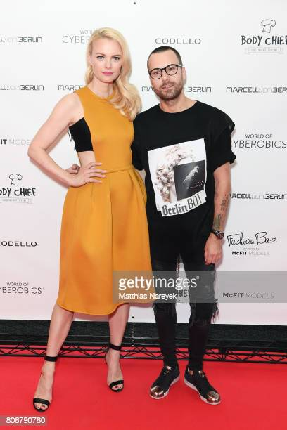 Model Franziska Knuppe and designer Marcell von Berlin are seen during the Marcell von Berlin 'Genesis' collection presentation on July 3 2017 in...