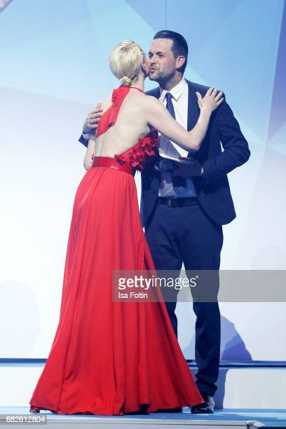 Model Franziska Knuppe and german presenter Matthias Killing during the GreenTec Awards Show at ewerk on May 12 2017 in Berlin Germany