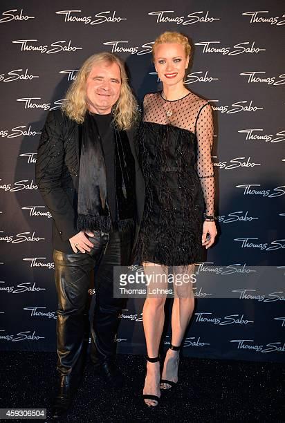 Model Franziska Knuppe and Thomas Sabo attend the Thomas Sabo flagship store opening at Restaurant Zenzakan on November 20 2014 in Frankfurt am Main...
