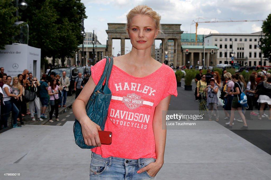 Model Franziska Knuppe departs from the Minx by Eva Lutz show during the MercedesBenz Fashion Week Berlin Spring/Summer 2016 at Brandenburg Gate on...