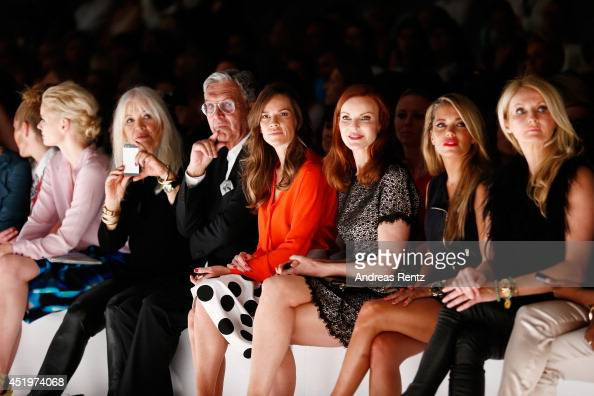 Model Franziska Knuppe Helmut Schlotterer and his wife Ute actresses Hilary Swank and Marcia Cross attend the Marc Cain show during the MercedesBenz...