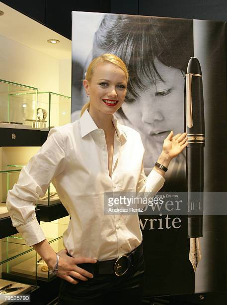 Model Franziska Knuppe looks on during the Montblanc 'Meisterstueck 149' fountain pen charity presentation in aid of the United Nations Children's...