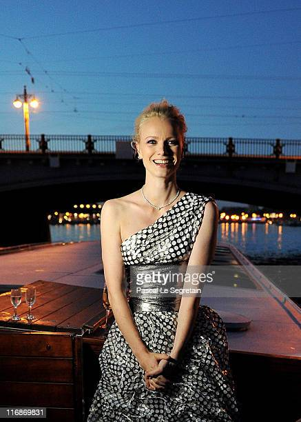 Model Franziska Knuppe travels by boat on the Neva River during the Montblanc New Voices Award 2011 Montblanc White Nights Gala Dinner on June 16...