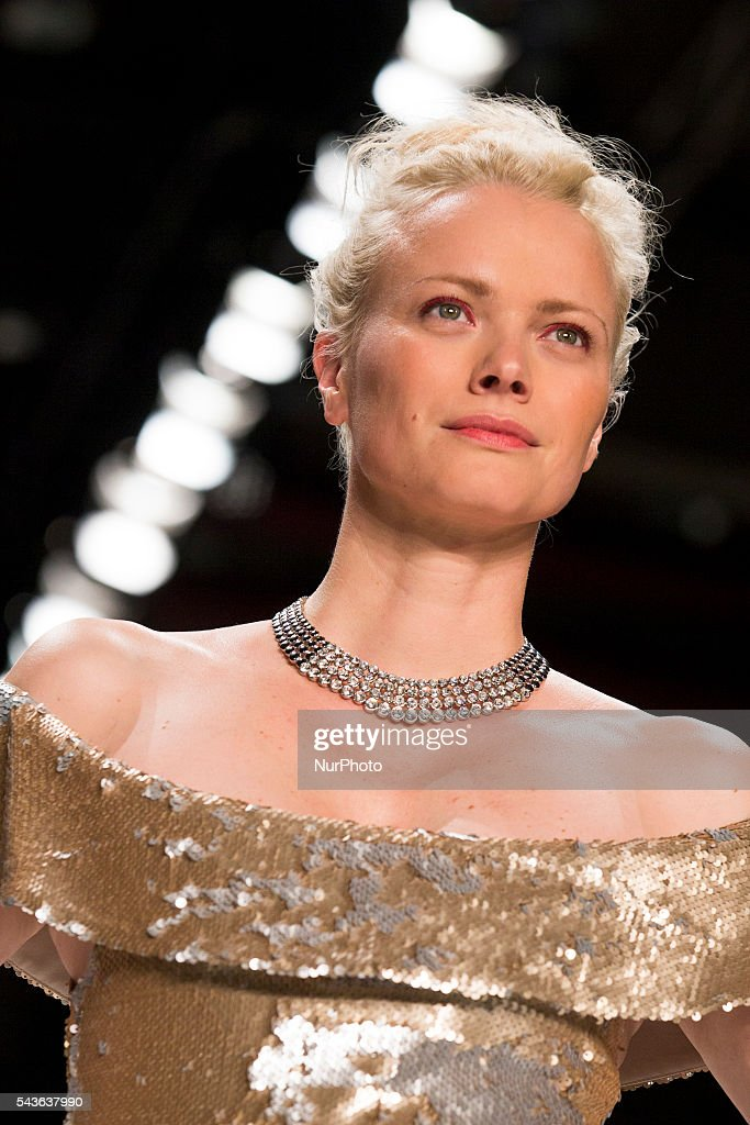 Model Franziska Knuppe walks the runway at the Minx by Eva Lutz show during the Mercedes-Benz Fashion Week Berlin Spring / Summer 2017 at Erika Hess Eisstadion in Berlin, Germany on June 29, 2016.