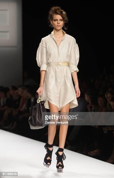 Model Freja Beha Erichsen walks down the runway during the Fendi show as part of Milan Womenswear Fashion Week Spring/Summer 2010 at on September 26...