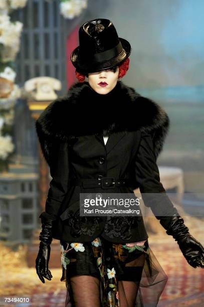 Model Freja Beha Erichsen walks the catwalk during the John Galliano fashion show as part of Paris Fashion Week Autumn/Winter 2008 on March 3 2007 in...