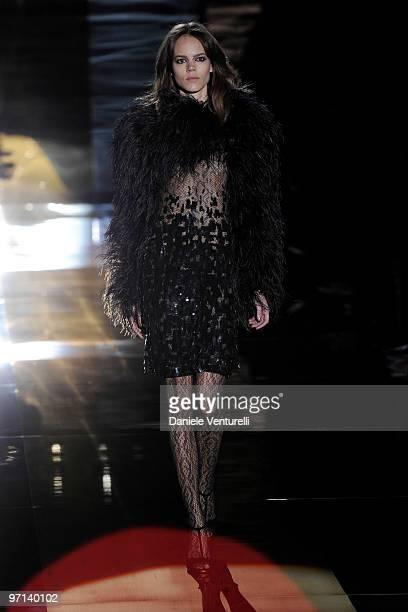 Model Freja Beha Erichsen walks the runway during the Gucci Milan Fashion Week Autumn/Winter 2010 show on February 27 2010 in Milan Italy