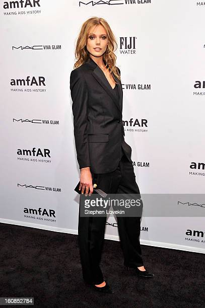 Model Frida Gustavsson attends the amfAR New York Gala to kick off Fall 2013 Fashion Week at Cipriani Wall Street on February 6 2013 in New York City